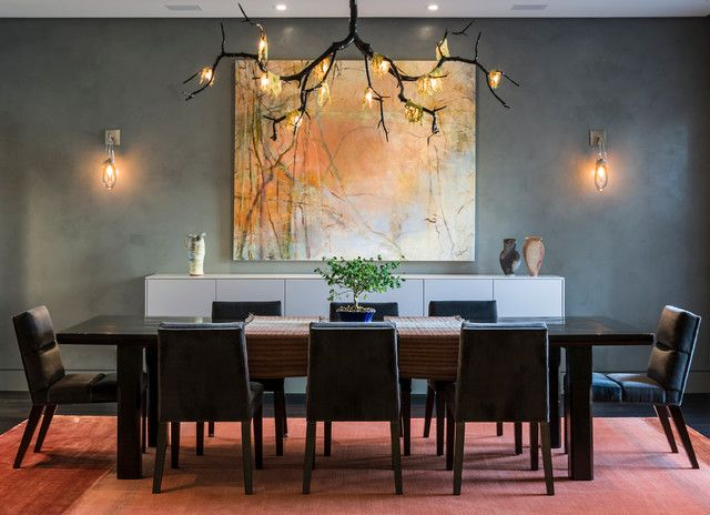 Contemporary Dining Room Chandeliers Extraordinary Love How The Branch Chandelier Blends With The Wall Art  House Inspiration Design