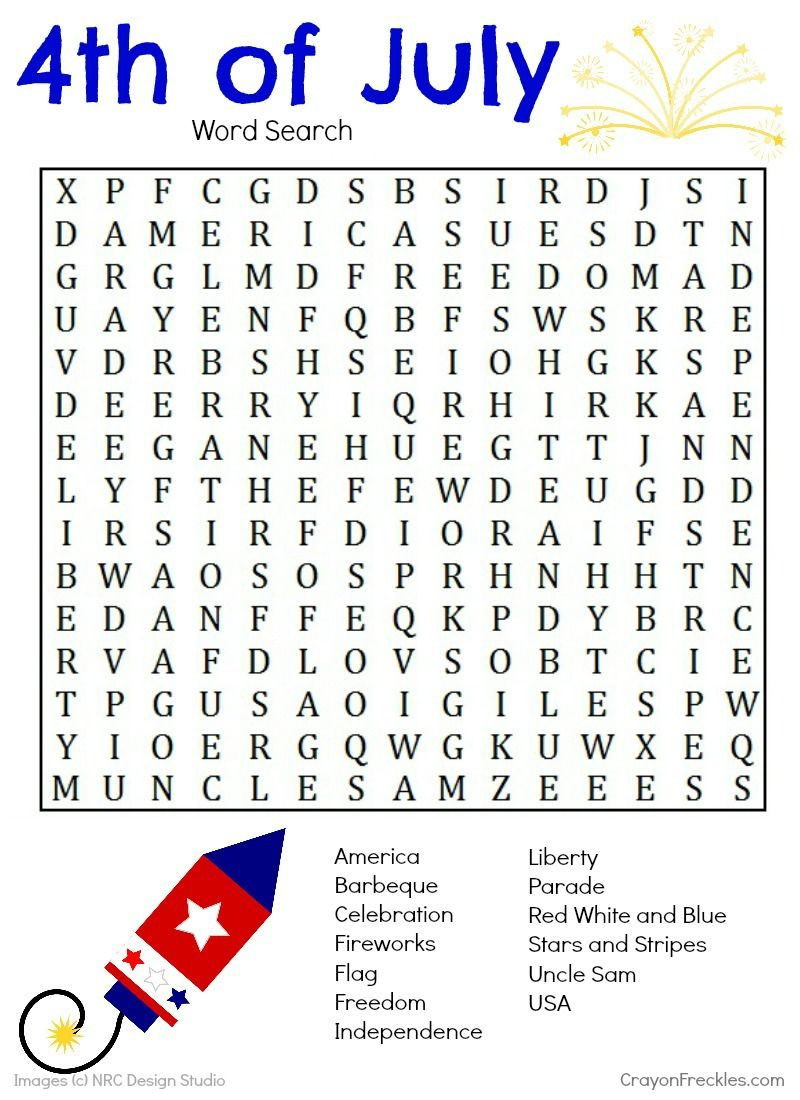 4th of July Word Search {free printable}