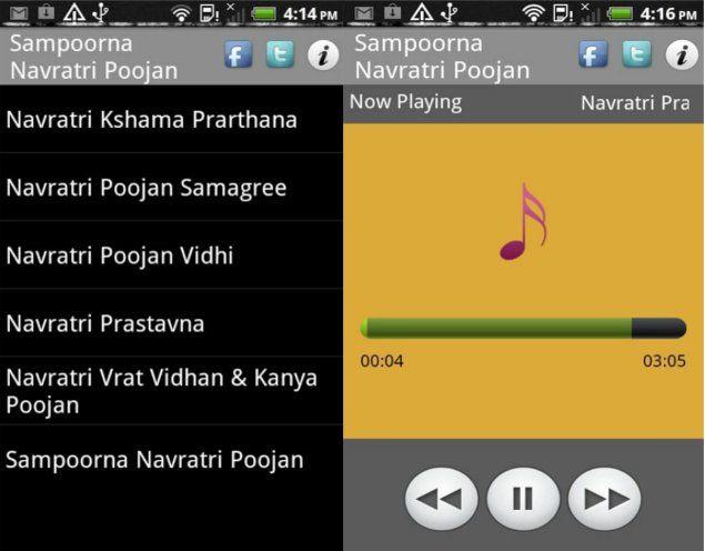 1. संपूर्ण नवरात्र पूजन:  यह ऎसा एप है जिसमें पारंपरिक तौर पर नवरात्र पूजन करने की विध दी गई। इस ए