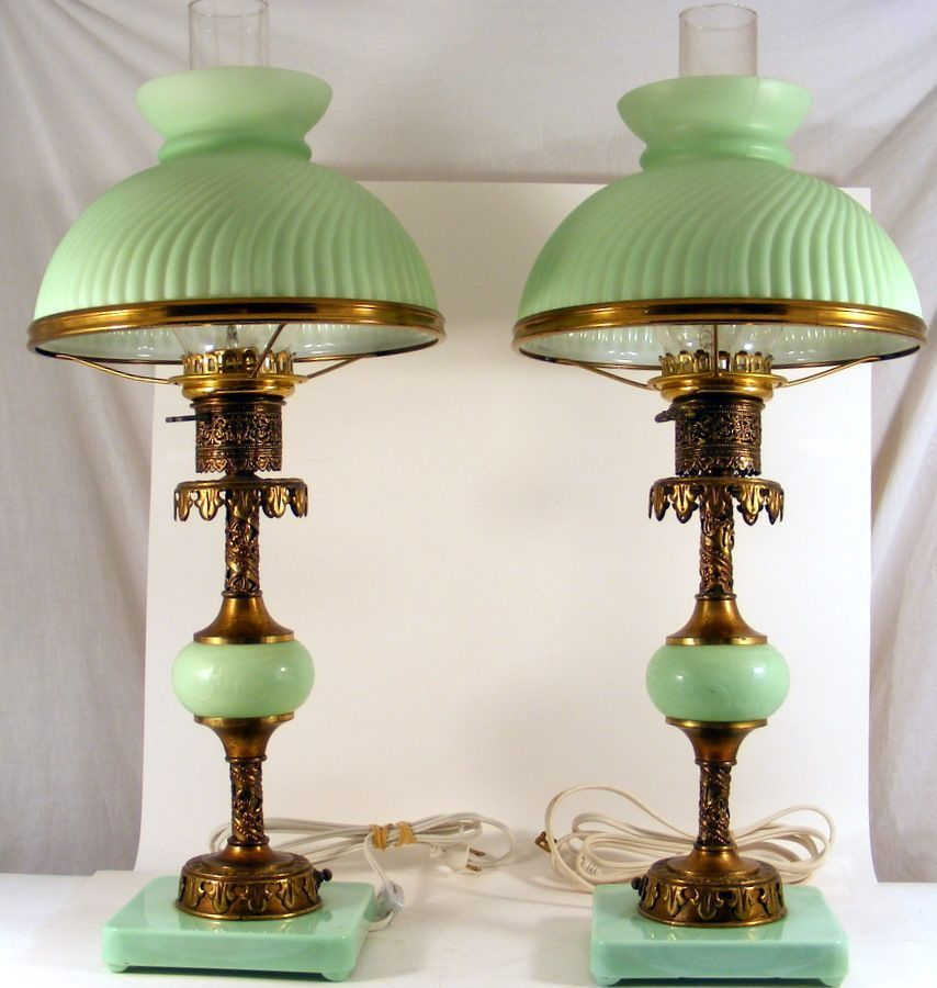 Two Victorian Style Table Lamps. C1960 Green Glass Lamps