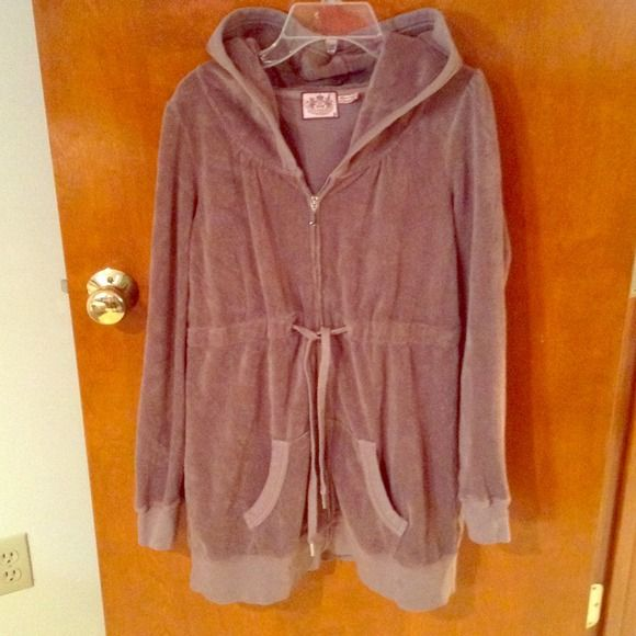 """Hoodie dress, Juicy Couture Light brown terry cloth stretch hoodie dress, not perfect condition, a not too noticable stain in third pic, priced accordingly, 30.5"""" long Juicy Couture Dresses"""