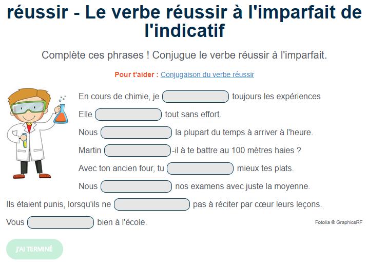 Exercice Le Verbe Reussir A L Imparfait Exercice De Francais Cm1 Exercices Conjugaison Conjugaison Cm1