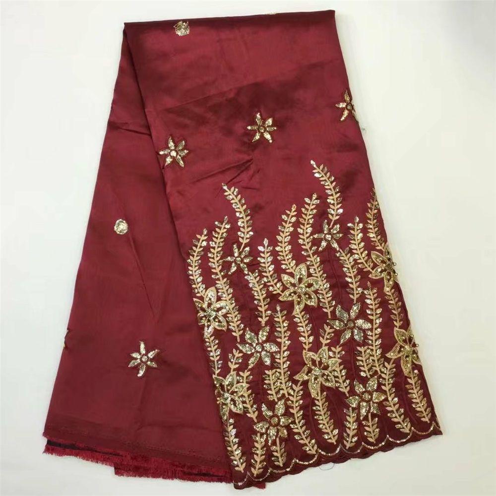 New Arrival African George Lace Fabric Sequin Silk Nigerian Wedding Dress Purple