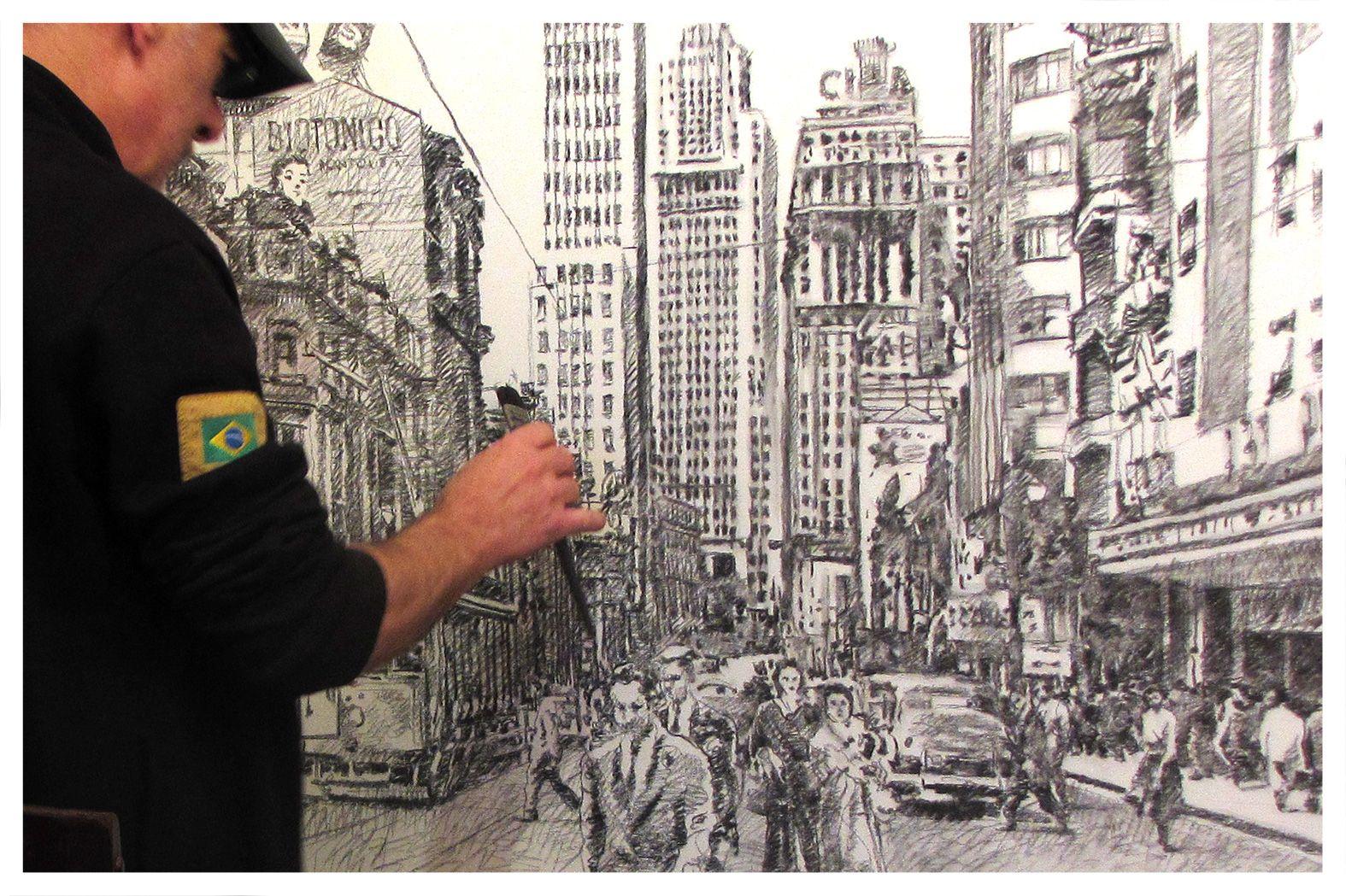 Avenida São João, São Paulo, c. 1957 120 x 90 cm, carvão e acrílico sobre tela Marco Angeli, maio de 2015 http://marcoangelistudio.blogspot.com.br/