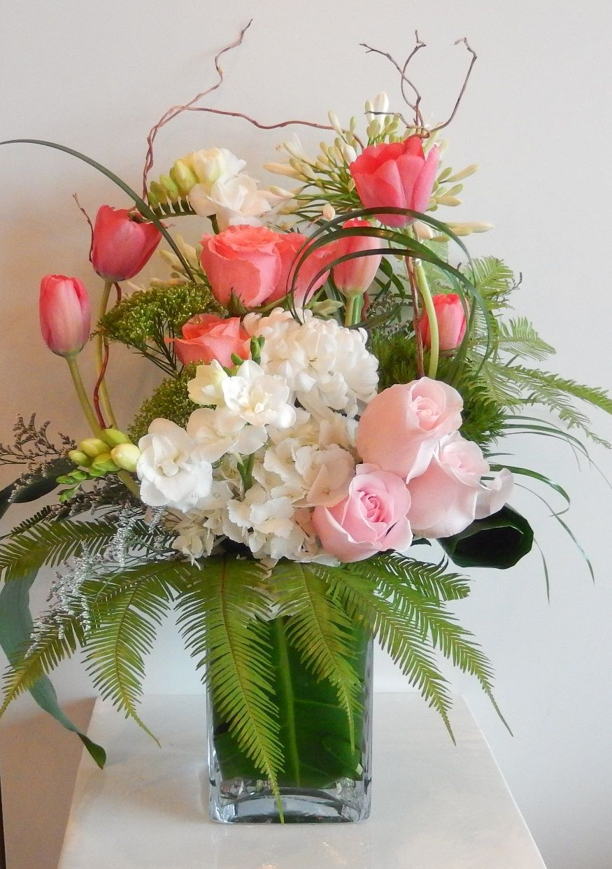 A beautiful cheery early spring vase arrangement from