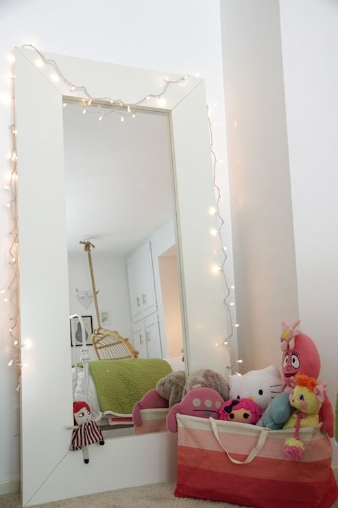 Fun Girlu0027s Bedroom With White Ikea Mongstad Mirror With Lights And Pink  Ombre Canvas Basket Filled