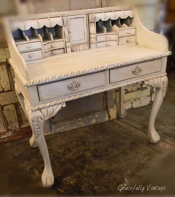 Very Old Secretary Desk with Claw Feet. I'm on the hunt for one like this to make a pretty vanity