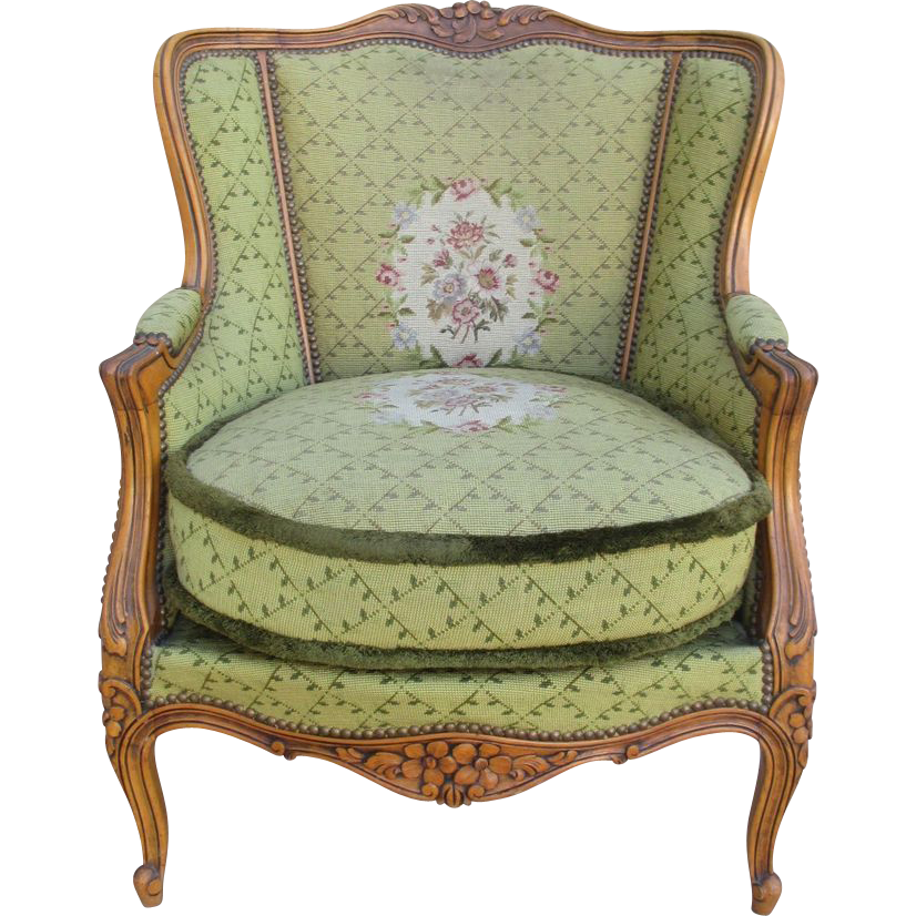 French Antique Needlepoint Chair with Fringe Antique Furniture - French Antique Needlepoint Chair With Fringe Antique Furniture On