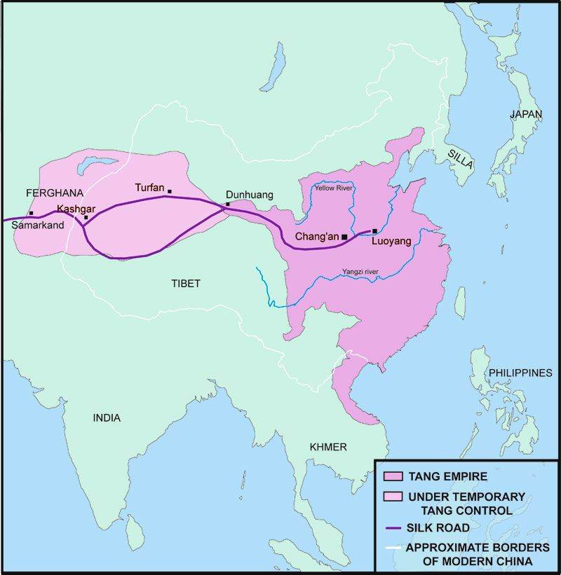 Detailed map of the tang dynastys control silk road detailed map of the tang dynastys control sciox Choice Image