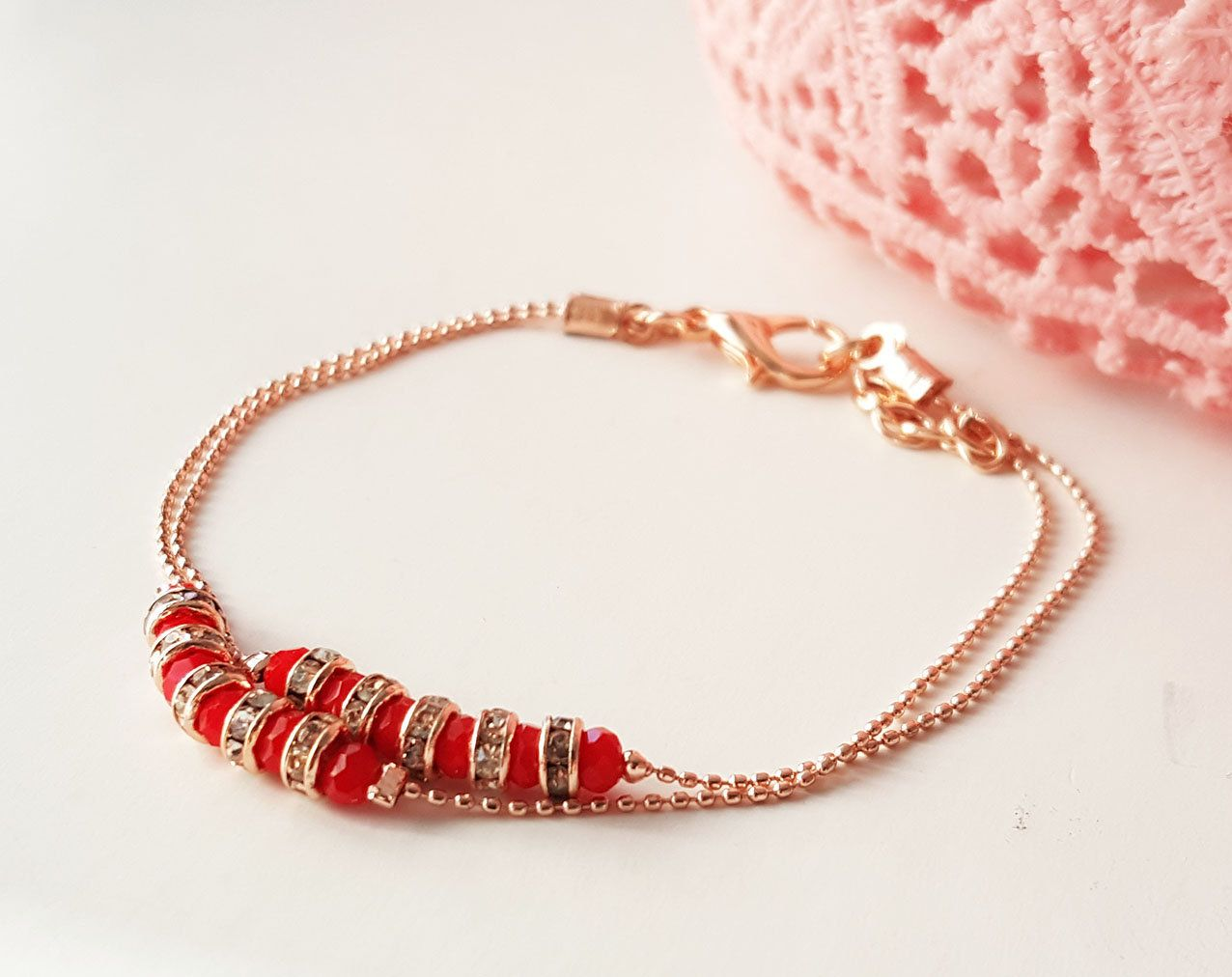 Photo of Red crystal bracelet, 2 strands bracelet, Rose gold jewelry, Gift for best friends, Birthday gift, double row bracelet, chain bracelet