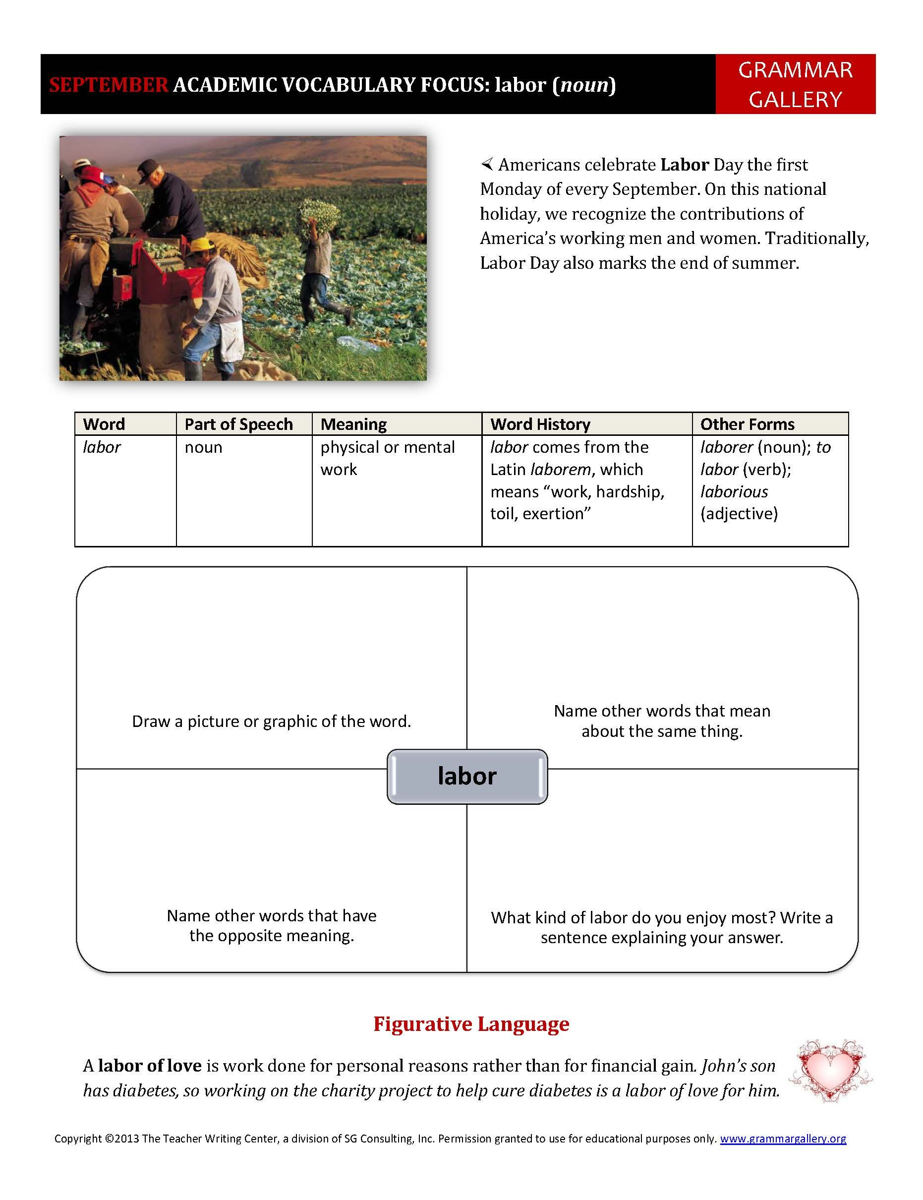 This Worksheet Focuses On The Word Labor