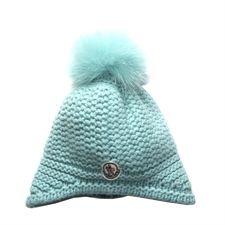 Moncler Green Hat With Fur Pom Pom