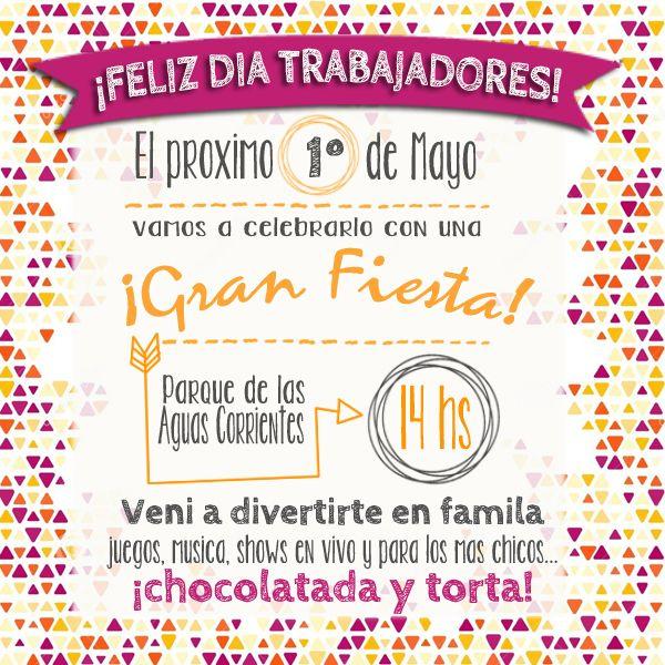 Tarjeta Invitacion Dia Del Trabajador 1 De Mayo Feliz