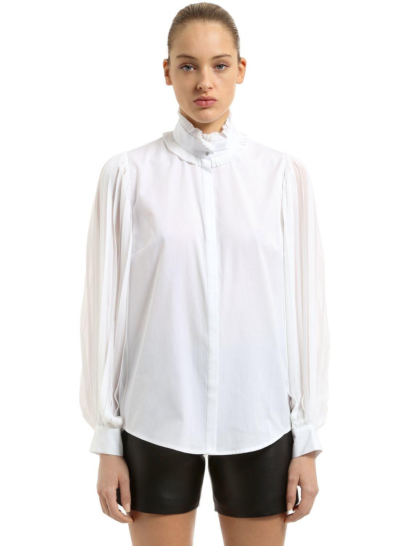 KARL Poplin Tuxedo Collar Shirt Karl Lagerfeld Cheap Best Sale JlOAq4yg