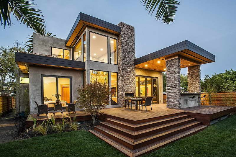 Contemporary Modular Homes With Stone Wall Modern Prefab Homes