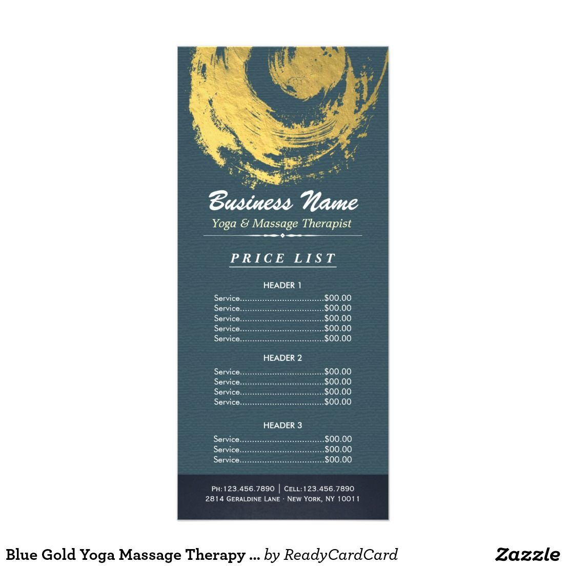 Blue Gold Yoga Massage Therapy ZEN Sign Price List Rack Card | Price ...