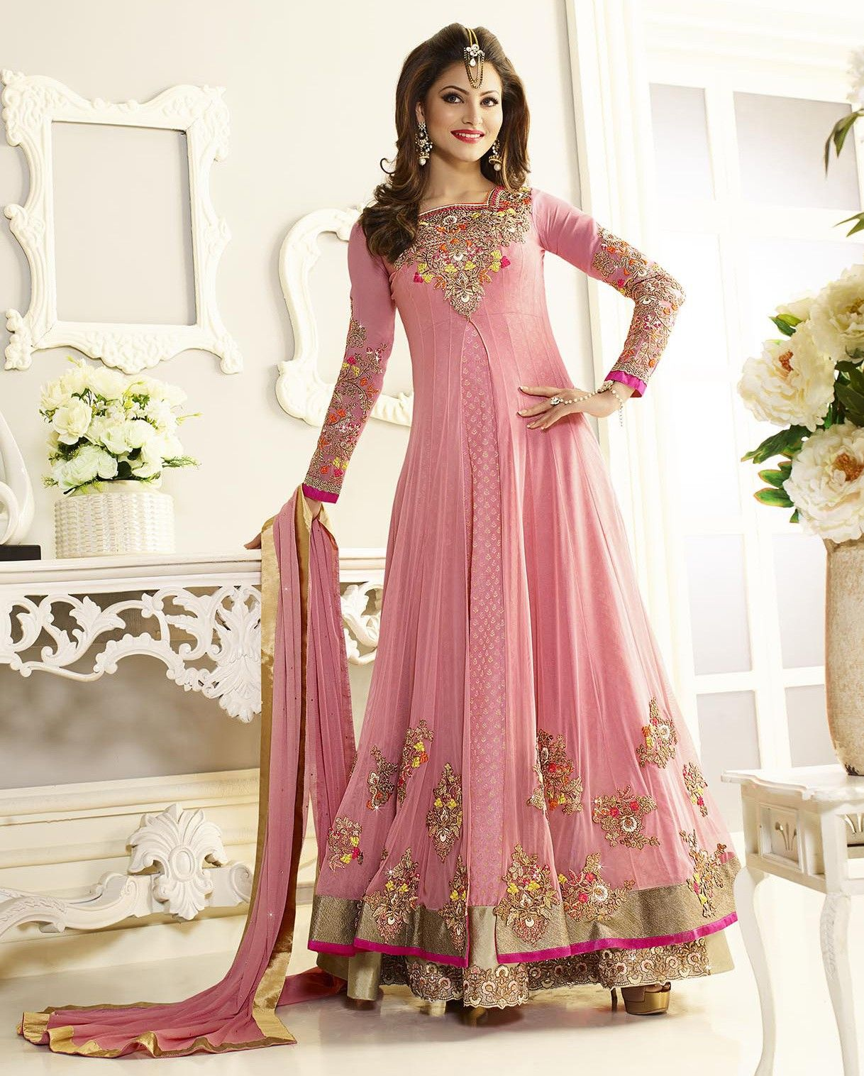 Light Pink Colour Net Embroidery and Stone Work Stitched Suit ...