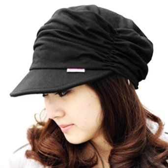 LOCOMO Women Girl Fashion Design Drape Layers Beanie Rib Hat Brim Visor Cap  Black Fashionable drape newsboy cap Made of polyester and cotton Suitable  for ...