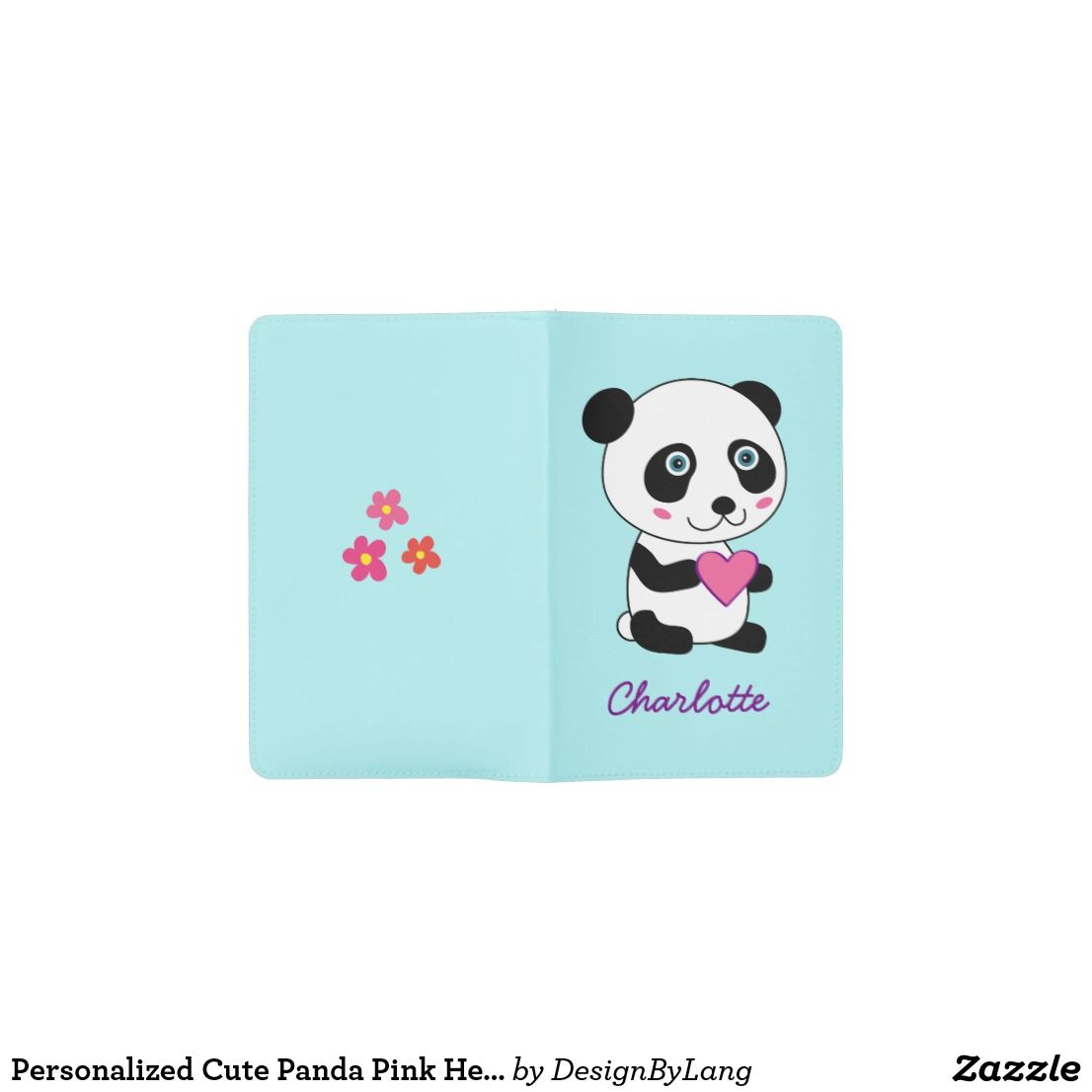 33edc3671a1f54 Personalized Cute Panda Pink Heart llustration Pocket Moleskine Notebook