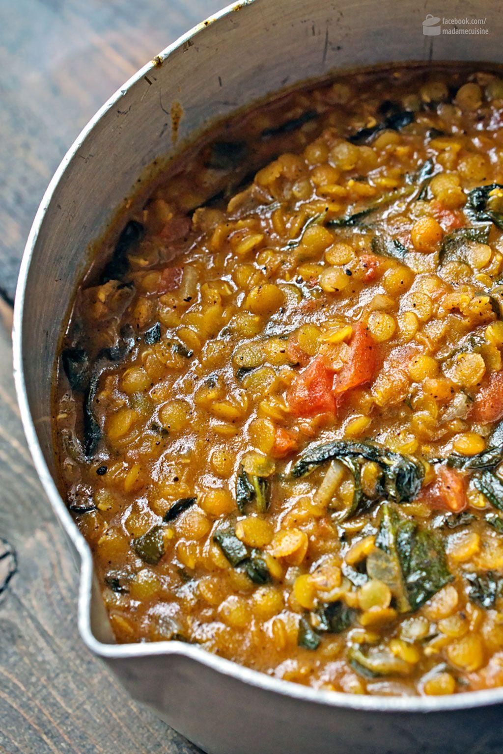 Indisches Linsen-Curry mit Spinat | Linsen curry, Linsen und Curry