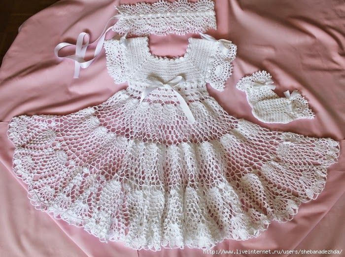 Crochet y dos agujas: Vestido de bautismo al crochet | vestidos ...