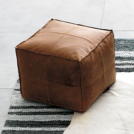 Incredible Brown Leather Pouf Reviews Cb2 Dailytribune Chair Design For Home Dailytribuneorg