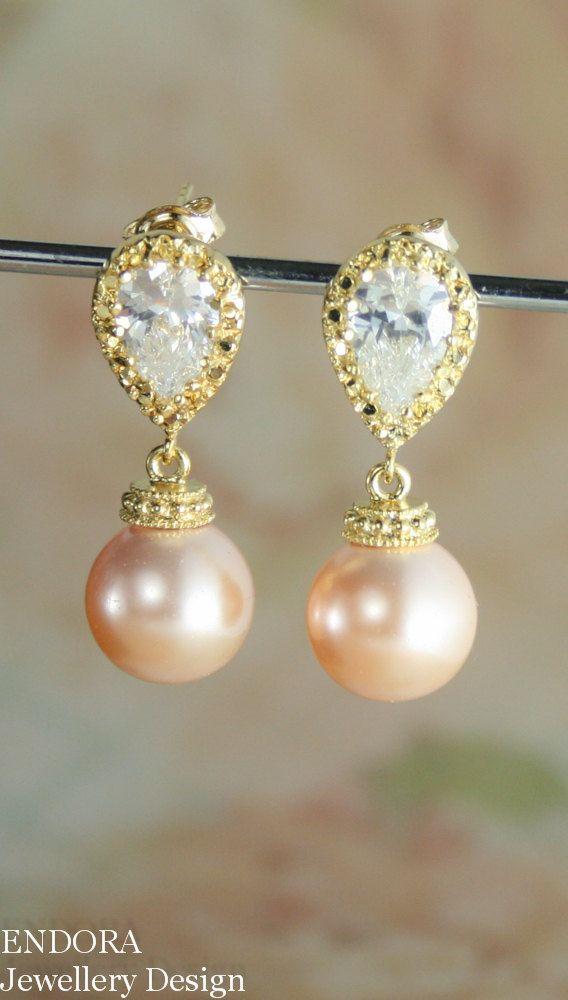 Peach Earrings Pearl Earring Wedding Jewelry Bridesmaid