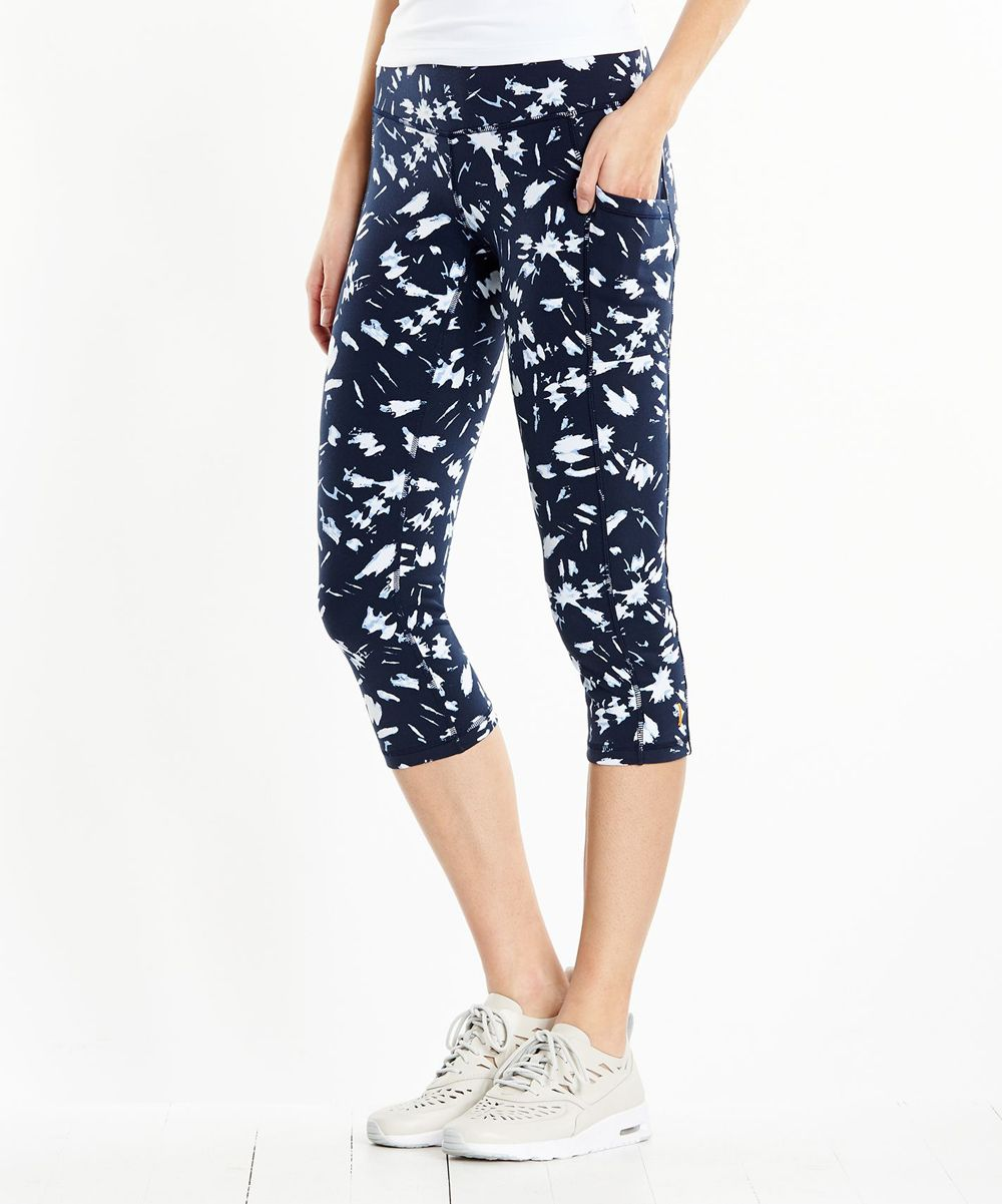 Navy & White Splatter Pocket Capri Pants