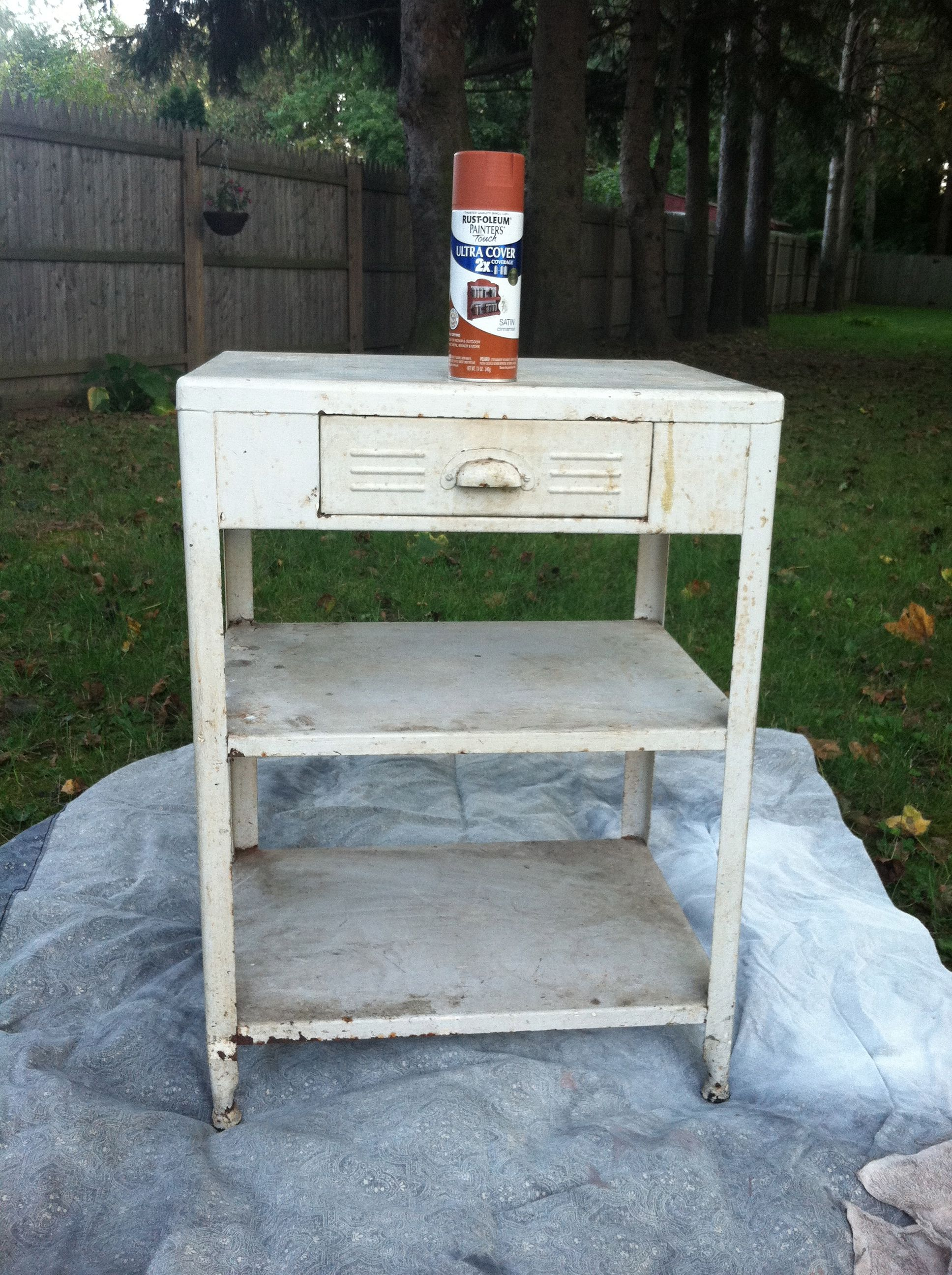 old stand left in our 1st apartment, I spray painted it burnt orange & use it next to the utility sink in the basement to set paint supplies on to dry after washing, keep bags in it for waste basket by the laundry area.