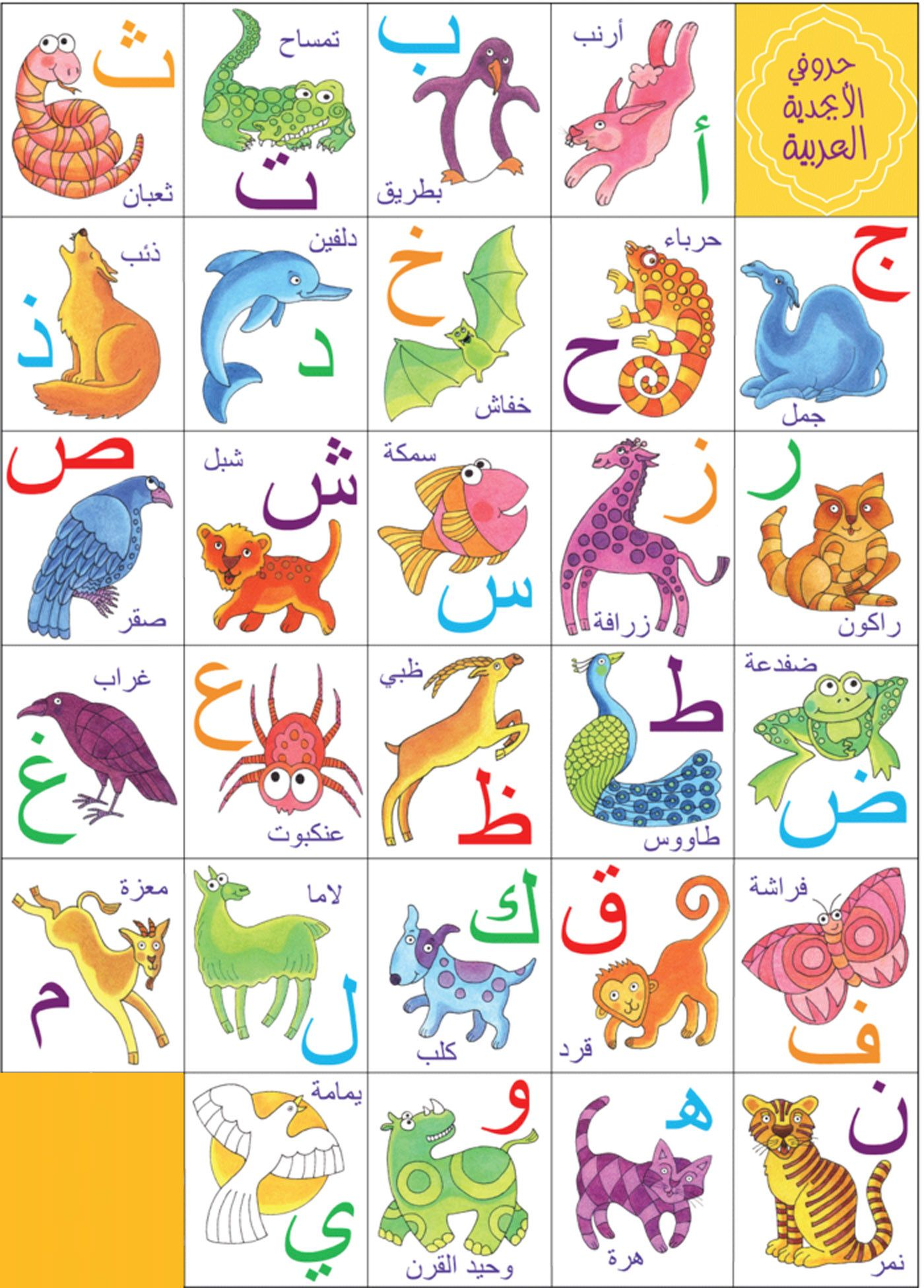Colorful Arabic Letters With Examples