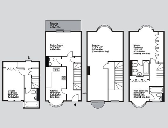Paris townhouses three bedroom townhouse floorplan for 3 bedroom townhouse plans