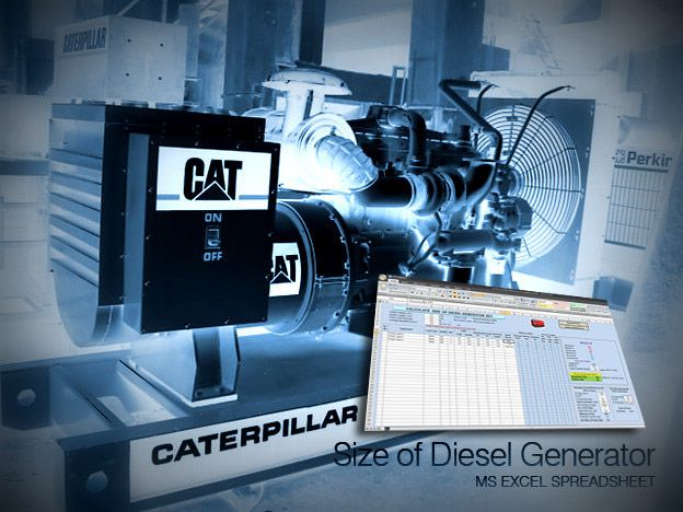 Calculate Size of Diesel Generator Library ✈ EE │Spreadsheets - electrical engineering excel spreadsheets