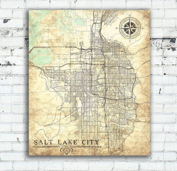 SALT LAKE CITY Canvas Print Utah Ut Vintage map Salt Lake City