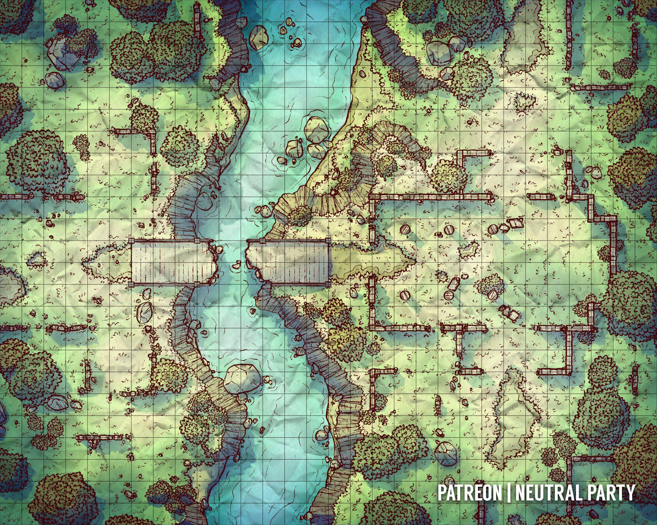 Riverside Ruins Battlemaps Dnd World Map Fantasy Map Tabletop Rpg Maps