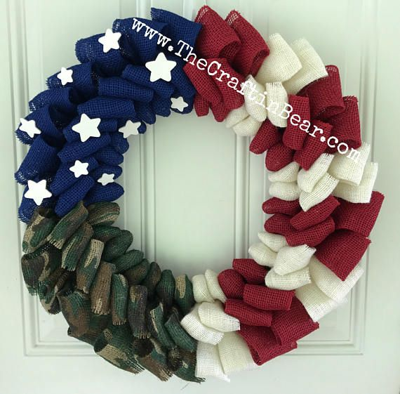 Photo of American flag burlap wreath – Patriotic wreath – Military Wreath – 4th of July wreath – American wreath – Camo wreath
