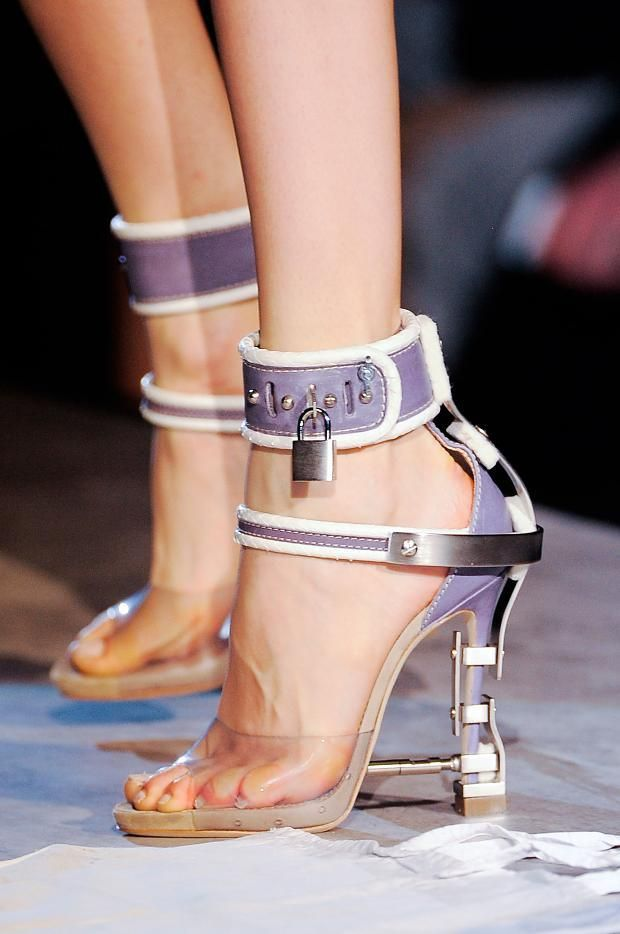 bc9640dfa DSquared2 Lavender Ankle Strap Sandal Metal Heel Contruction Fall Winter  2014 #Shoes #Heels