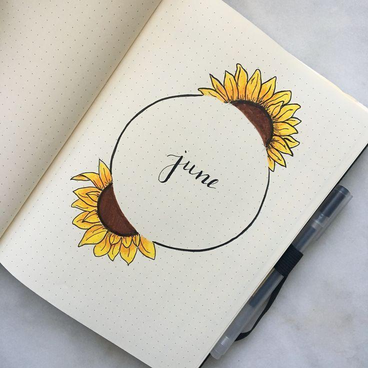 #fuer #journal #juni #kalender #kugel #sonnenblumen #thema Sonnenblumen für Juni Kugel Journal Thema #bulletjournaldoodles