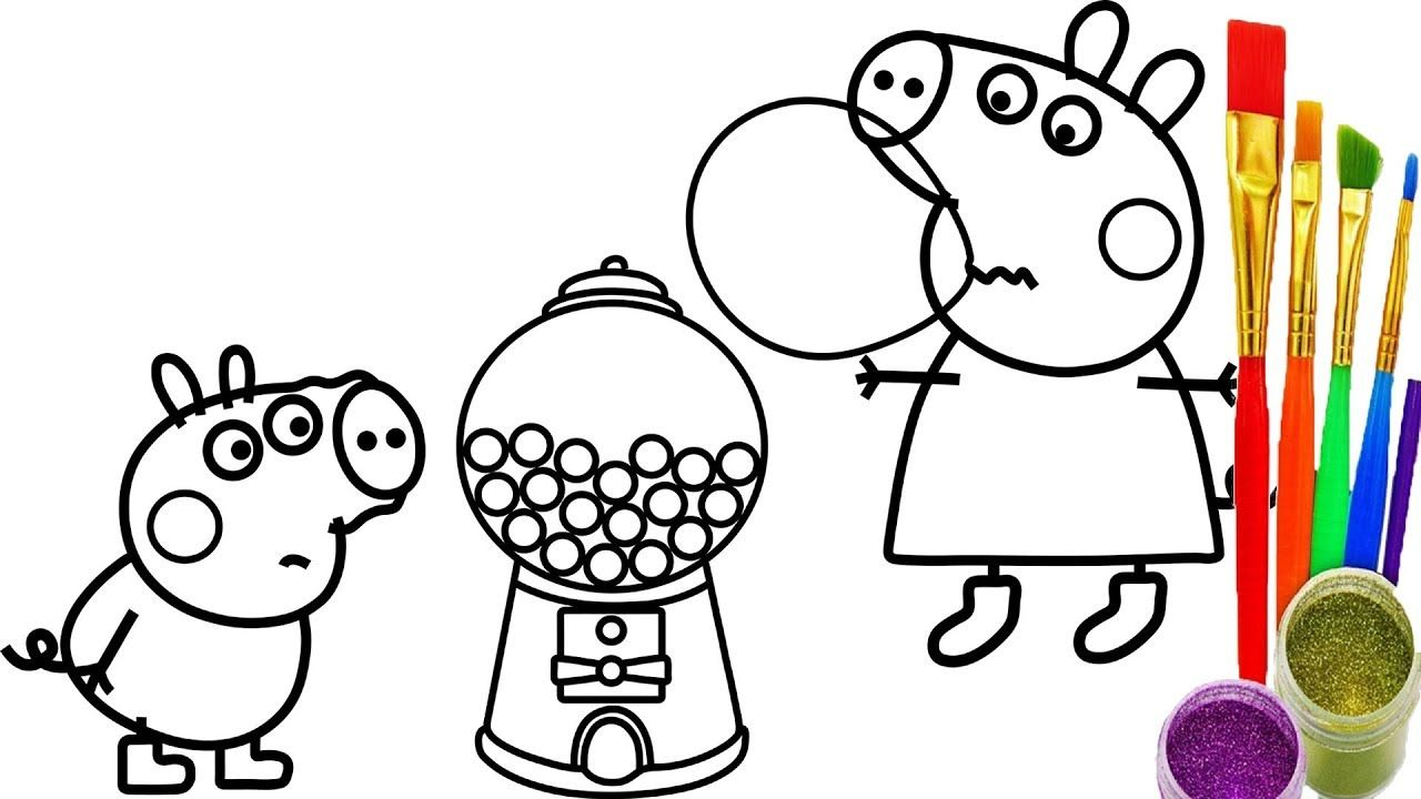 how to draw peppa pig gumball machine coloring pages kid drawing learn - Peppa Pig Coloring Pages Kids