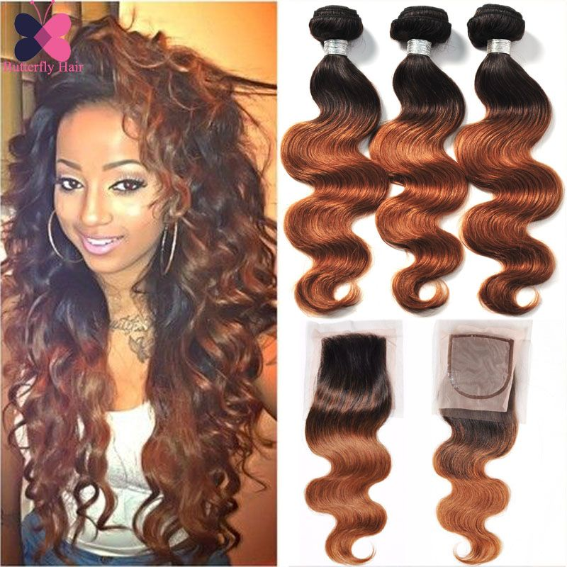 10a Ombre Brazilian Hair Body Wave With Closure 3 Bundles Wet And