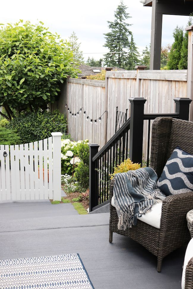 Our New Trex Deck Reveal: Before & After | Deck over ... on Deck Over Patio Ideas id=53938