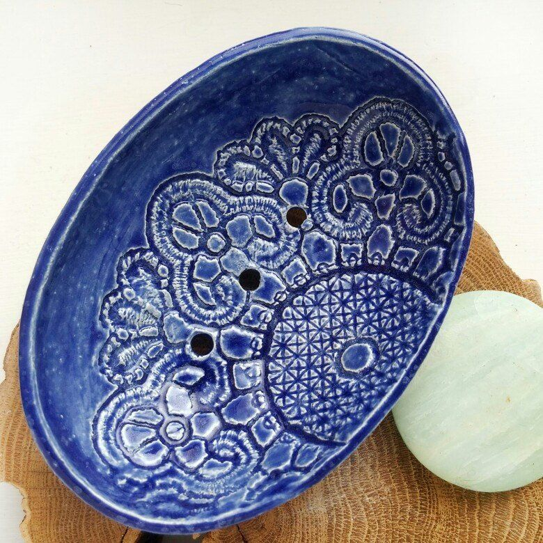 Soap Dish Ceramic Holder Hand Painted Pottery Craft Seifenschale Savon Zeepbakje