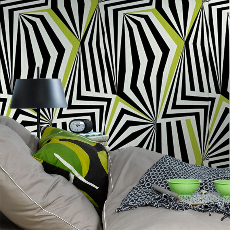 Intisse Psychedelic Coloris Blanc 4 Murs Intisse Chambre Tendance Papier Peint
