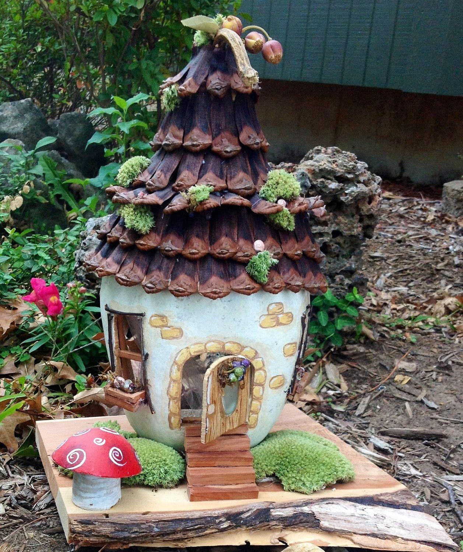 Edible Landscaping And Fairy Gardens: Gourd Fairy House For Garden Or