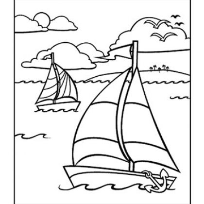 Coloring Pages for Kids  Coloring Summer and Boats