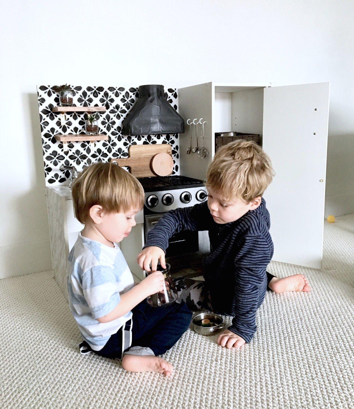 Diy Play Kitchen An Update In 2020 Diy Play Kitchen Toddler Play Kitchen Kids Play Kitchen