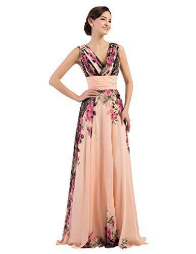 GRACE KARIN® Damen Abendkleider Lang Chiffon Blumenmuster ...