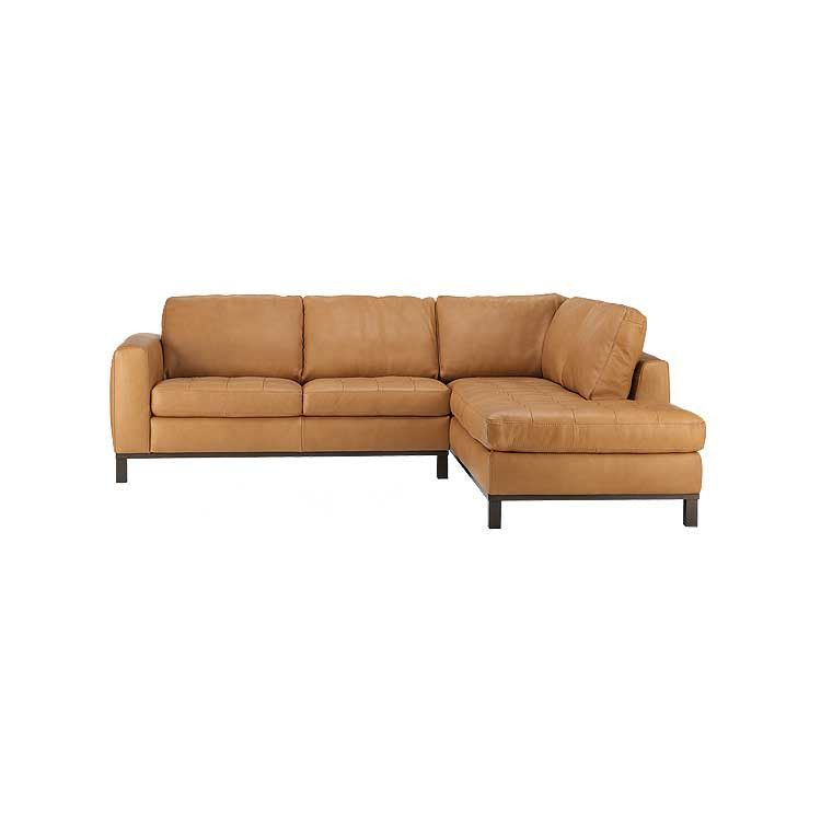 Modern leather tailored sectional sofa and ottoman Seattle