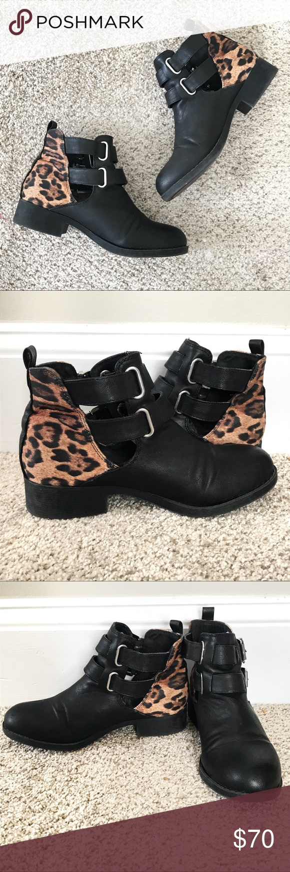 c616cc30ee6e Kendall & Kylie Black Ankle Boots Leopard Print Kendall + Kylie black moto  ankle booties with