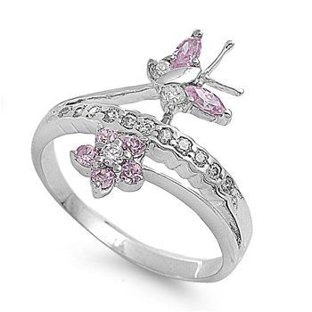 Sterling Silver Cz Flower Ring Size 5-9
