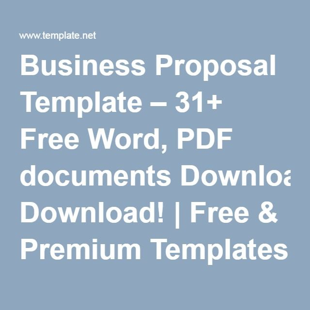Business Proposal Template 31 Free Word Pdf Documents Download